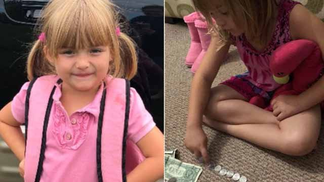 Sunshine Oelfke, 5, helps raise hundreds of dollars to pay for her classmates' milk. JACKIE OELFKE