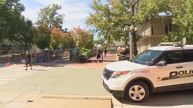 Police on the Mizzou campus. Credit: KMOV