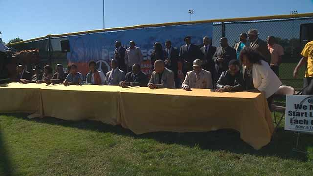 Local leaders gathered in Forest Park to preview Peacefest on Wednesday. Credit: KMOV