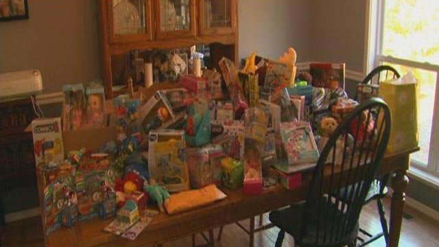 A stack of toys that A.J. Wiedermann has collected (Credit: KMOV)