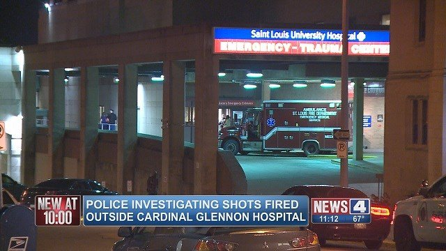 Shots were fired in the parking lot of Cardinal Glennon Children's Hospital Thursday night. (Credit: KMOV)