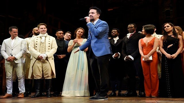 """Lin-Manuel Miranda, creator of """"Hamilton: An American Musical,"""" addresses the audience during the curtain call on the opening night of the Los Angeles. (Credit: AP)"""