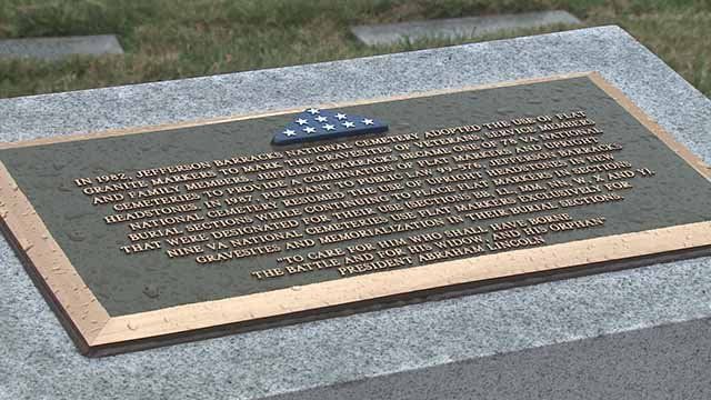 the group Meaningful Crosses helped install five monuments that stand next to the graves of 7,500 veterans. Credit: KMOV