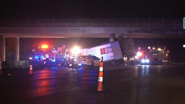 Emergency crews on I-44 after a tractor-trailer crashed Monday (Credit: KMOV)