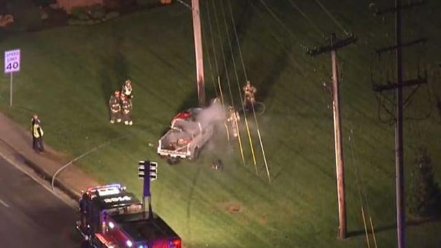 A pickup truck crashed on Lindbergh Monday (Credit: KMOV)