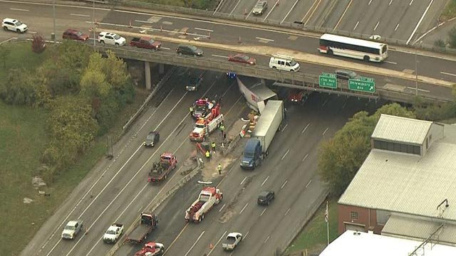 A semi-truck crashed on Interstate 44 near Shrewsbury (Credit: KMOV)