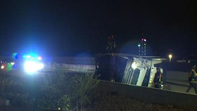 A semi-truck crashed on I-70WB near the Stan Musial Veterans Memorial Bridge Tuesday (Credit: KMOV)