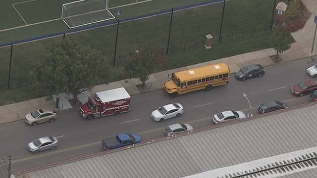 Authorities said nobody was seriously injured in an accident involving a school bus and a car in midtown St. Louis. Credit: KMOV