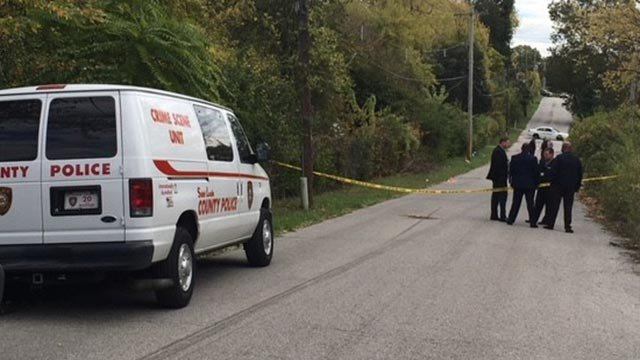St. Louis County Police in the 8200 block of Courtney after a body was found Wednesday (Credit: KMOV)