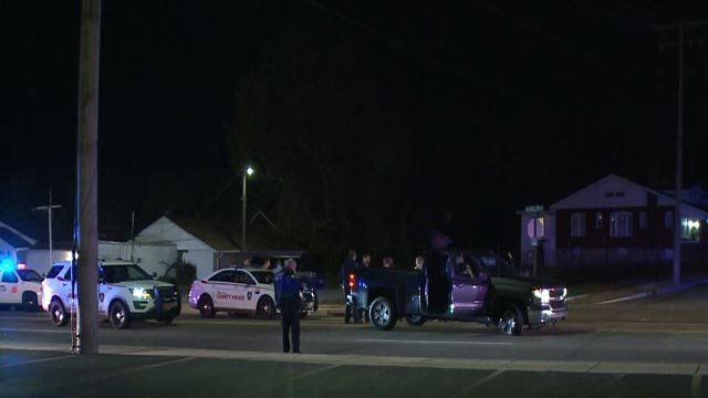 Police on Kienlen Road after a chase ended overnight (Credit: KMOV)