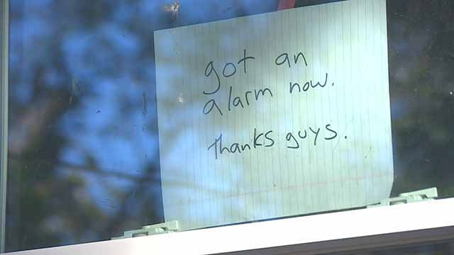 "Those rehabbing a home that was recently hit by thieves have installed a sign that says ""Got an alarm. Thanks guys."" Credit: KMOV"