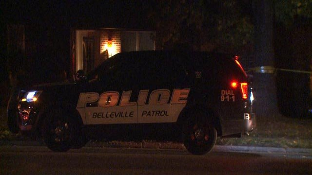 A Belleville police vehicle on the scene where an 18-year-old was found dead Sunday (Credit: KMOV)