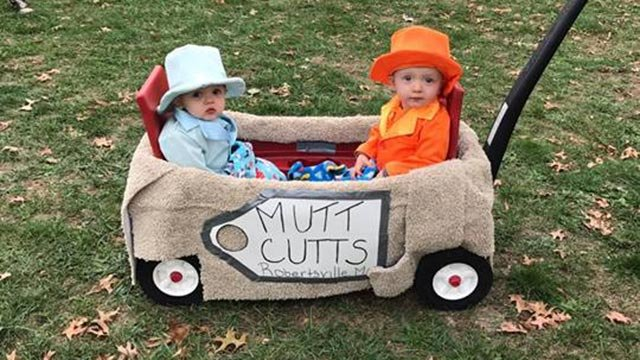Twins Rylan & Ray Lee dressed as Dumb & Dumber (Credit: Krista Bendler)