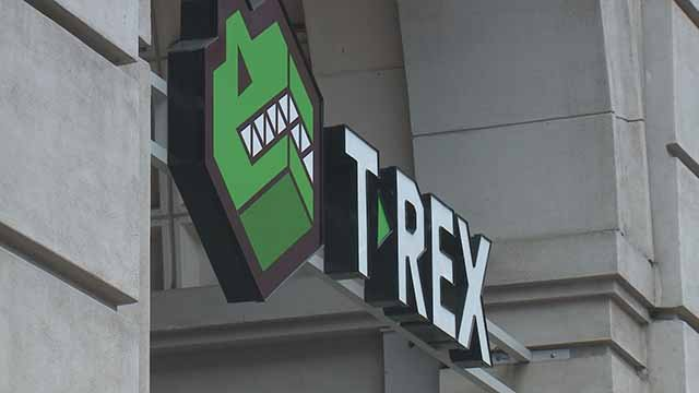 T-Rex in downtown St. Louis. Credit: KMOV