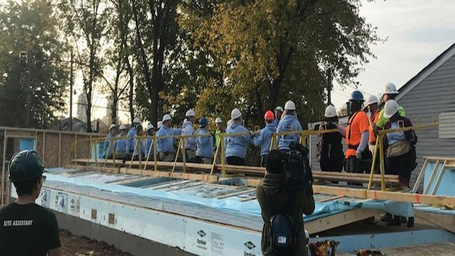 First wall being raised on the Home 4 the Holidays house (Credit: KMOV)