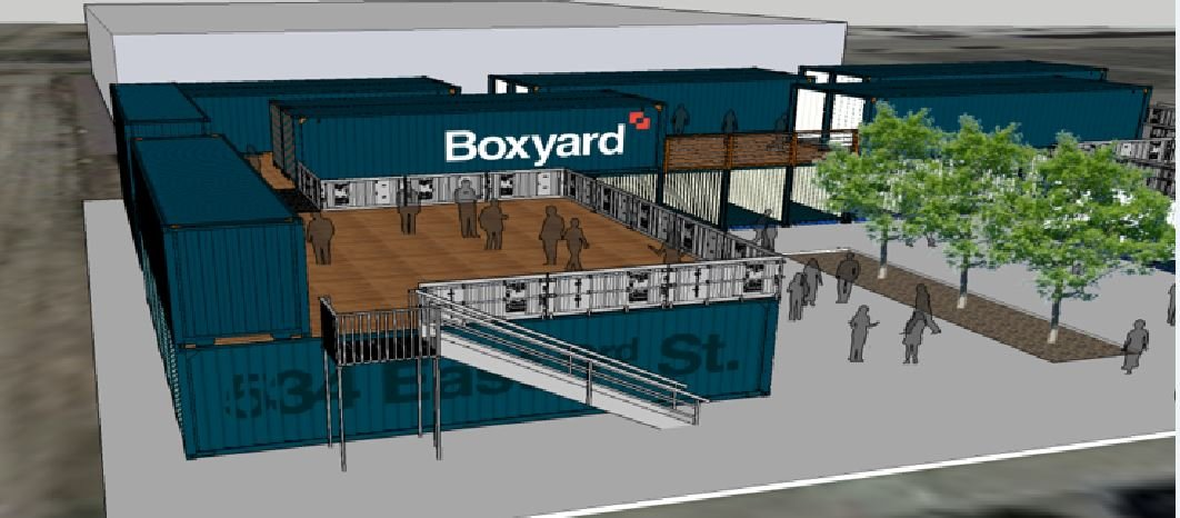 The shopping center built from shipping containers is similar to a spot in Tulsa, OK (Tower Real Estate)