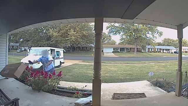 A mailman was caught on camera throwing a package onto a Florissant porch. Credit: KMOV