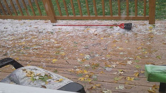 Hail in Overland, Mo. after storms move through the area. (Credit: Robert Shaw/Facebook)