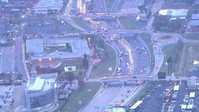 A multi-car crash on WB I-64 at Newstead caused lane closures Tuesday (Credit: KMOV)