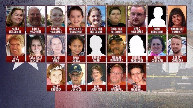 The victims of the First Baptist church shooting on Sunday. (Credit: CBS)