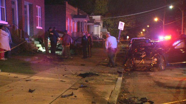 A woman was injured after a stolen vehicle crashed into her car in north St. Louis (Credit: KMOV)