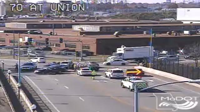 Police on Union at I-70 after a police pursuit ended in a crash Wednesday (Credit: MoDOT)