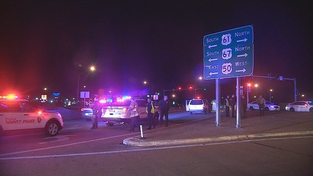 Police say a 32-year-old man was shot on a St. Louis highway Tuesday night. (Credit:KMOV)