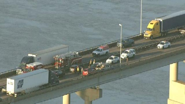 Emergency crews on the Chain of Rocks Bridge following a crash Thursday morning (Credit: KMOV)