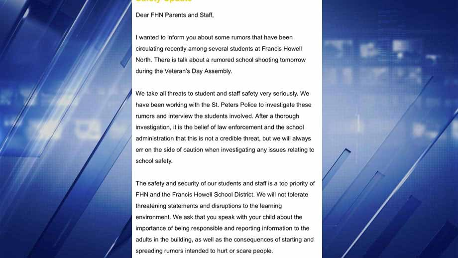 The email sent to parents and staff