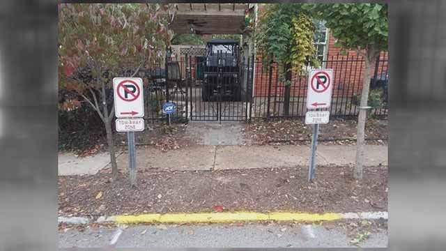 Some in Soulard believe the person who had these no parking signs installed is receiving special treatment. Credit: KMOV