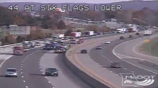 The accident involving a Missouri Highway Patrol trooper caused traffic to back up on I-44 Saturday afternoon. (Credit: MODOT)
