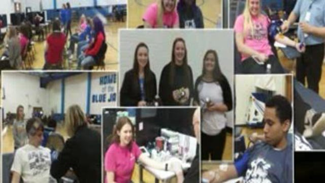 Students participating in a blood drive in Washington, Mo. (Credit: KMOV)