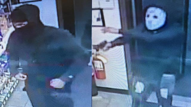 Surveillance photos of two suspects accused of robbing a Casey's General Store in Wood River on Nov. 14 (Credit: Wood River Police)