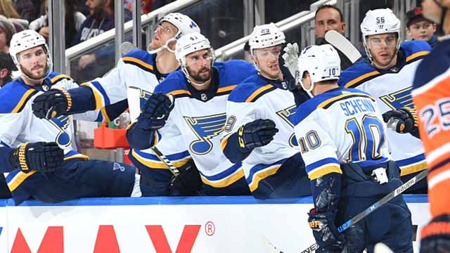Brayden Schenn #10 of the St. Louis Blues celebrates after a goal during the game against the Edmonton Oilers on November 16, 2017 at Rogers Place in Edmonton, Alberta, Canada. (Photo by Andy Devlin/NHLI via Getty Images)