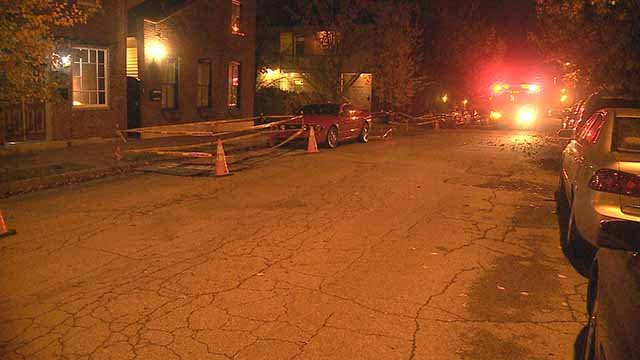 The scene where an elderly man was shot with a BB gun in Soulard on Saturday. Credit: KMOV