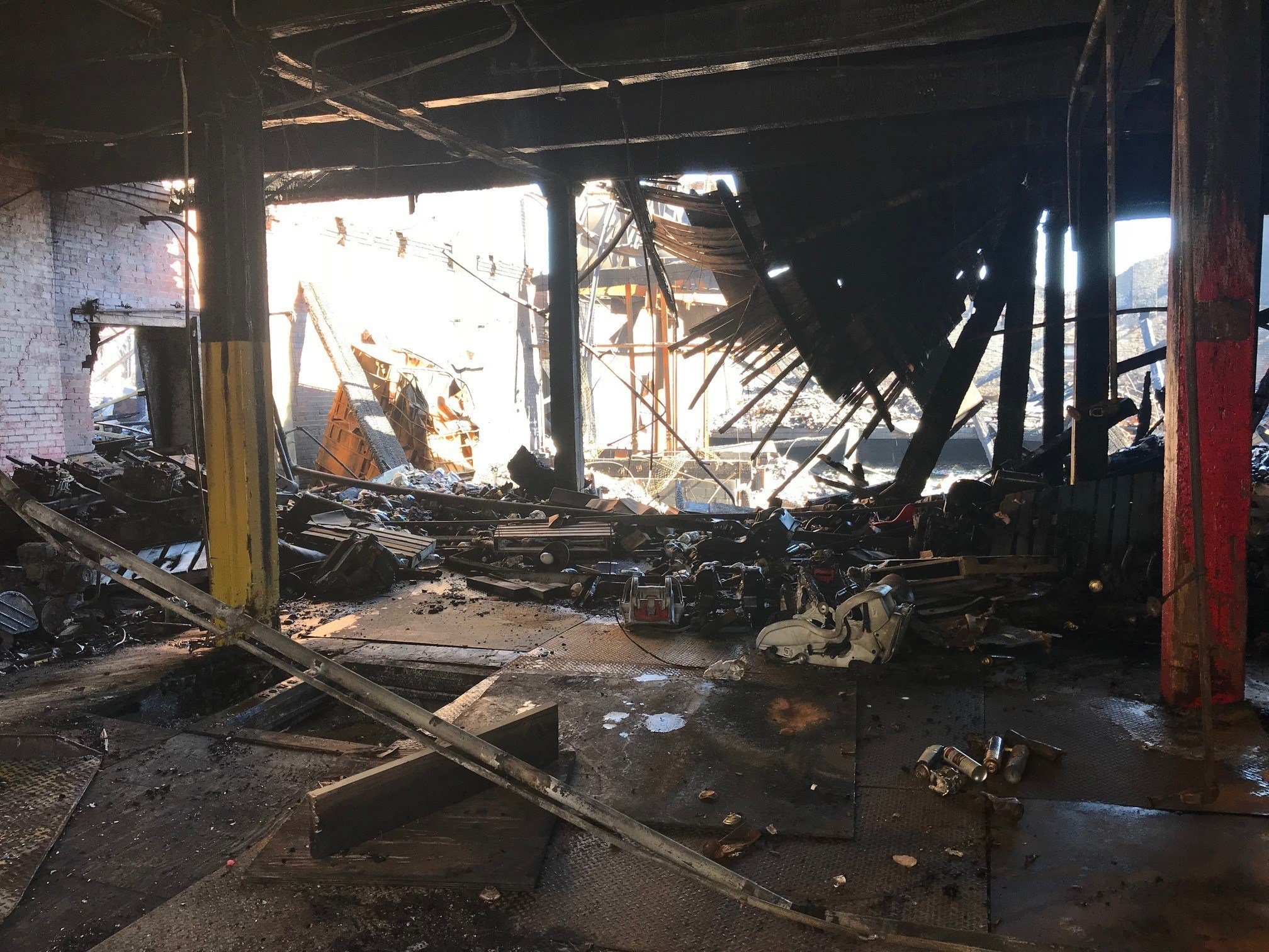 interior view of the Park Warehouse Services building near 39th & Park in St. Louis which was destroyed in a huge fire.