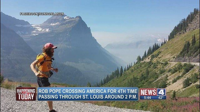 Rob Pope is the first person ever to run across America three times in just one year. He is expected to cross through St. Louis Friday during his fourth cross-country run. (Credit: Rob Pope Facebook)