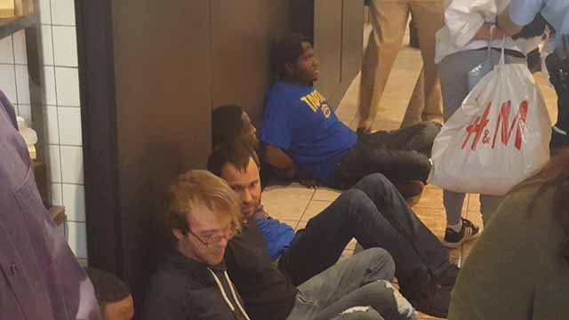 Several people, including Missouri State Rep. Bruce Franks, were arrested at a protest at the Galleria on Friday. Credit: KMOV
