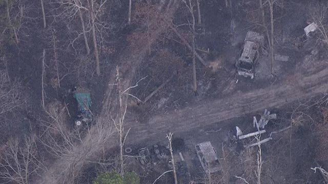 Vehicles damaged by a brush fire near Potosi (Credit: KMOV)