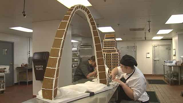 The Chase Park Plaza is creating a gingerbread village inside the hotel. The village will be a replica of the Park Plaza building and a model of the gateway arch. (Credit: KMOV)