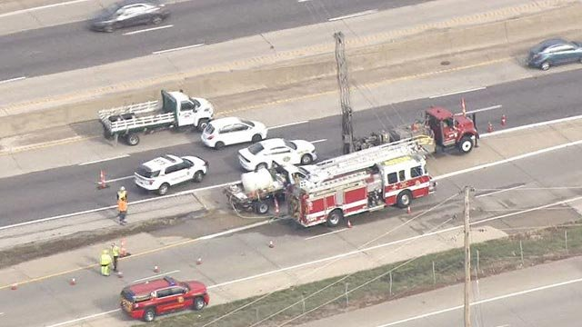 A MoDOT contract worker was electrocuted while operating a truck at a power line on I-44 (Credit: KMOV)