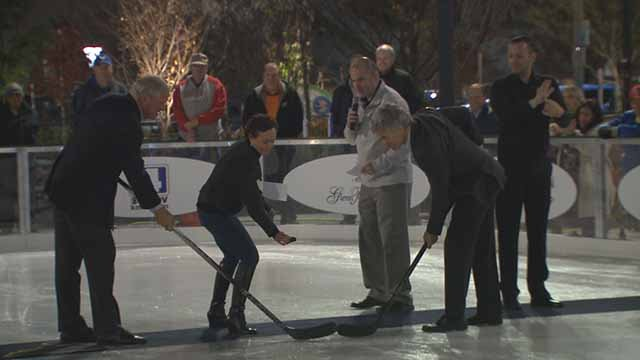 A ceremonial puck drop betweenBlues owner Tom Stillman and Cardinals Senior Vice President Dan Farrell started off One Nation Night at Winterfest. Credit: KMOV