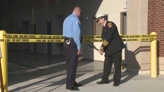 The ribbon-cutting ceremony for the new Edwardsville police and fire facility. Credit: KMOV