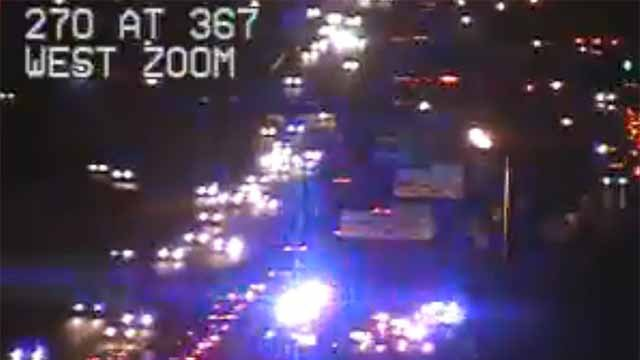 Some sort of incident has closed all lanes of WB I-270 near 367. Credit: MoDOT