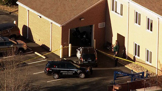 The scene of the shooting in the Arnold Police Department parking lot (Credit: KMOV)