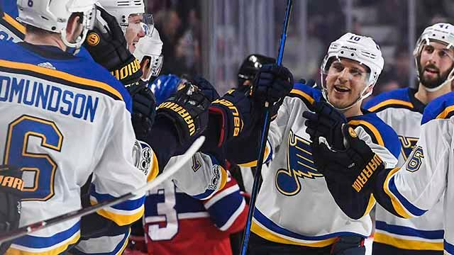 Brayden Schenn #10 of the St. Louis Blues celebrates his third goal of the game for the 'hat trick' against the Montreal Canadiens in the NHL game at the Bell Centre on December 5, 2017 in Montreal, Quebec, Canada. (Getty Images)