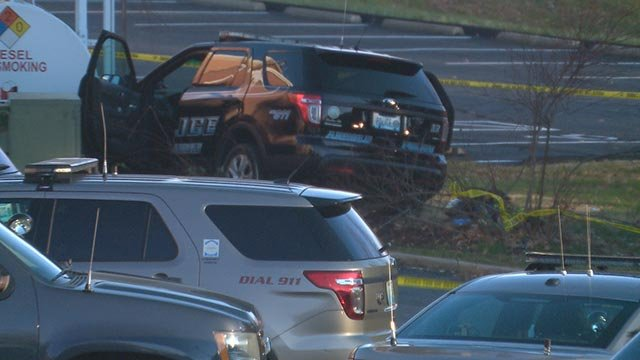 An Arnold Police vehicle at the site where an officer was shot Tuesday (Credit: KMOV)