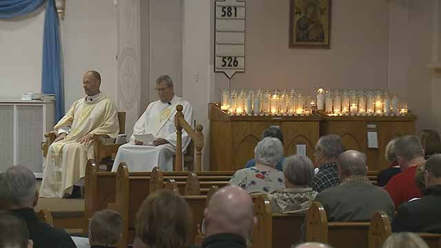 A prayer vigil was held for Officer Ryan O'Connor at Immaculate Conception Church in Arnold Thursday. Credit: KMOV