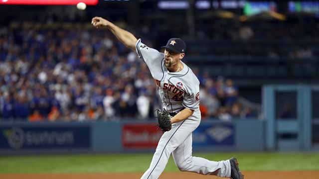 Luke Gregerson #44 of the Houston Astros pitches during Game 6 of the 2017 World Series against the Los Angeles Dodgers at Dodger Stadium on Tuesday, October 31, 2017 in Los Angeles, California. (Photo by Alex Trautwig/MLB Photos via Getty Images)