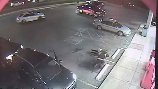 Surveillance cameras were rolling during what appears to be an act of road rage occurred in Arnold. Credit: KMOV